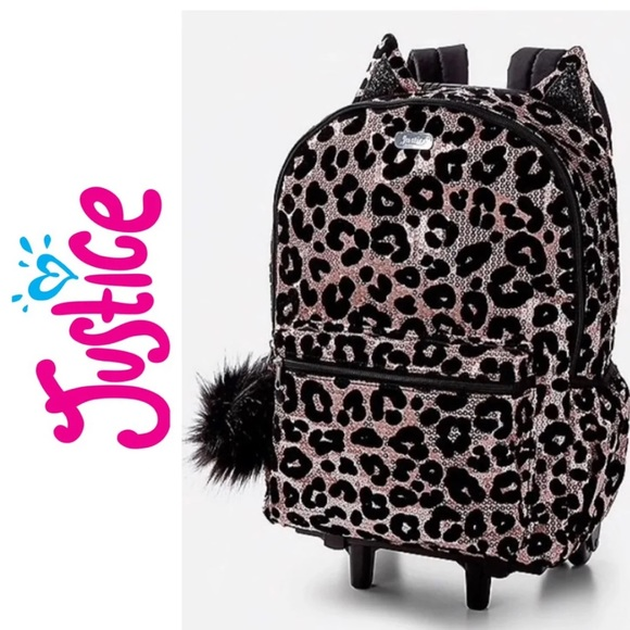 Justice Accessories Luggage Rolling Backpack Wheelie Cheetah